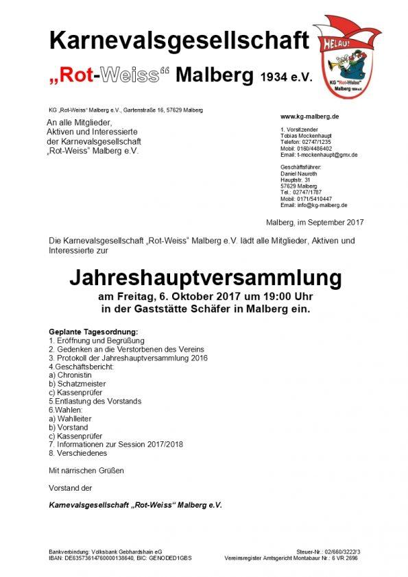 Jahreshauptversammlung @ Gaststätte Schäfer